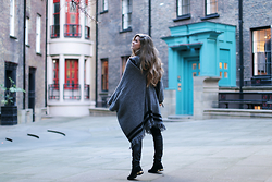 Kylie Lawson - Asos Poncho, Kurt Geiger Over The Knee Boots - Ching Court