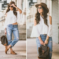Daniela Ramirez - Romwe Top, Adriano Goldschmied Jeans, Louis Vuitton Bag - Elastic heart...