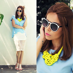Priscila Diniz - Neon Necklace, Sunglasses, Crown Wigs Human Hair Wig, Blue Shirt, White Sandals, Midi Skirt, Lipstick - Happiness can exist only in acceptance