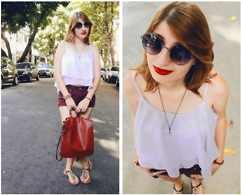 Ana Lu Massena - Anna Lima Vintage Glasses, Handmade Flawless White Blouse, Pimkie Burgundy Short, Opção Jeans Flats, Forever 21 Acessories, Handmade Red Leather Bag - Happy Monday