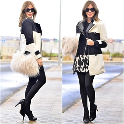 Ma Petite By Ana - Blackfive Coat, Frontrowshop Furry Bag, Alain Afflelou Ferrolterra Sunnies - Black & white