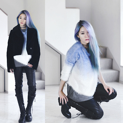 Junko Suzuki - Sheinside Purple Ombre Long Sleeve Mohair Sweater, Manic Panic Self Hair Color - 220115