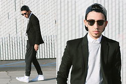 J. Sandoval Gomez - Ray Ban Clubmasters, Zara Black Jersey Blazer, H&M Crew Neck Sweater, Zara Shirt, Zara Jogger Trousers, Converse Leather High Tops - 01212015 Basic Essentials