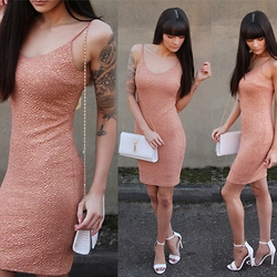 Victoria Rose - Misspap Abby Sparkle Midi Dress, Public Desire White Court Heels - Rose Gold Midi