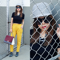 Priscila Diniz - Woolen Cap, Tote Bag, Jeffrey Campbell Llama Boots, Yellow Pants, Sunglasses, Black Cropped Top, Human Hair Wig - Things do not change, we change.