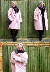 Alice - Primark Oversized Coat, Kmart Double Compartment Bag - Pink and Oversized