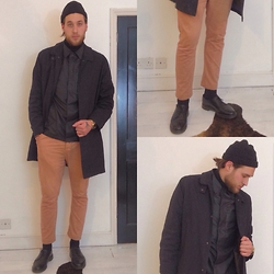 Harry Maddison - H&M Beanie, Lacoste Roll Neck, Worland Jacket, Kenzo Coat, Topman Chinos, Dr. Martens Shoes - Acne Studio Inspired