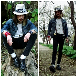 Dean Simon - Pull & Bear Classic Jean Jacket, Trash Vintage Clothing Suspenders, T.U.K Creepers - #Eleutheromania,The Art Of Freedom