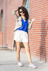 Joselin R - Unif Trench Coat, Cooper And Ella Double V Tank Top, Converse White Sneakers - ROYAL BLUE