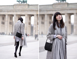 Ricarda Schernus - Topshop Grey Duster Coat, Reserved Grey Scarf, Topshop Suede Bag, Topshop High Heel Mules - Berlin Fashion Week x Topshop