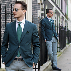 I N F A S H I O N I T Y a style story - Christian Dior So Real, Valentino Graphic Silk Tie, Zara Limited Edition, Zara Print Trousers Limited Edition - SHADES OF BLUES AND GREENS