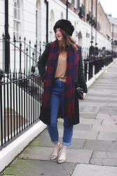 Jaclyn - Topshop Cossack Hat, Tartan Scarf, Topsh Camel Top, Warehouse Mom Jeans, Boden Sparkly Flats, & Other Stories Oversized Coat - Layered Up