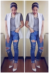 Cassey Cakes - Mango Oversized Vest, Mango Shirt, Topman Distressed Jeans, Mango Necklace - The Gray Tee