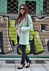 Kleoniki Tz. - Sheinside Mint Coat, Sheinside Shirt, Sante Shoes High Heels, H&M Sunglasses - The mint coat