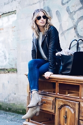 Jillian Lansky - Aritiza Leather Jacket, Isabel Marant Booties - Sitting pretty