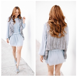 Modern Dame - Ives Salomon Gray Rabbit Fur Vest, Bcbg Icy Ruffled Dress, Bcbg Beaded Booties - Icy Blue Love