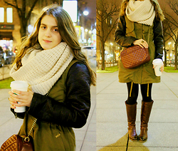 Alina Krasnaya - Pull & Bear Anorak, H&M Snood, Pull & Bear Bag - KHAKI & BORDEAUX