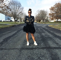 Kaycee Dawson - Bebe Quilted Leather Jacket, H&M Polka Dot Button Down, Converse Studded High Top Sneakers - Birds of a feather