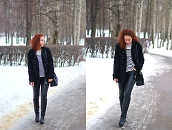 Anna Okonishnikova - Bcbg Shirt, Burberry Coat, Zara Leather Pants, Baldinini Boots, Prada Bag - WINTER SAILOR