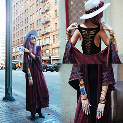 Sera Brand - Gypsy Day Dream Flower Crown, Lack Of Color Aus Silver Haze, Jolly Chic Backless Tank Long Dress, Pylo Burgundy Duster - Mad City