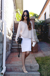 Jysla Kay - Wish Sweater, Kookai Dress, Wittner Heels - Dusty pink