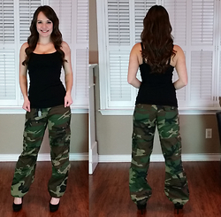Amie - Camo Pants, Express Best Loved Bra Cami - Camo with heels!