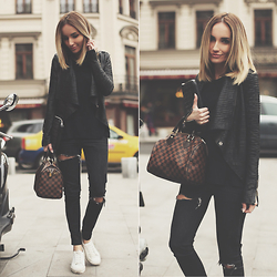 Silvia P. - Guess? Jacket, Louis Vuitton Bag, Zara Jeans, Bershka Sneakers - All black for a grey day