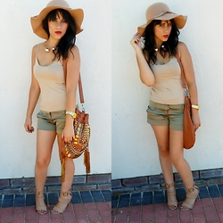 Kayleigh Chanyan - Forever 21 Camisole, Olive Shorts, Tan Heels, Chanel Inspired Neck Piece, Studded Bag, Floppy Sunhat - Safari chic