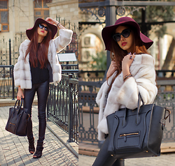 Ruslana Gee - Céline Bag, Vintage Faux Fur, Revolveclothing Faux Leather Pants, Stradivarius Hat, Victoria's Secret Glasses, Anne Michelle Boots - Cruella De Vil