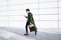 Curtis Yu - Green Coat, Fendi By The Way Bag, Prada Shoes, Dresscodetw Jeans - Maxi coat