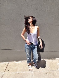 Tiffany Wang - Everlane Tank Top, Larsson & Jennings Watch, Levi's® Jeans, Birkenstock Sandals, Givenchy Bag - BOYFRIEND JEANS