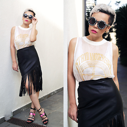 Priscila Diniz - Sunglasses, Skirt With Fringes, Solestruck Charming Heels, Lipstick, White Transparent Top - Every day brings new choices