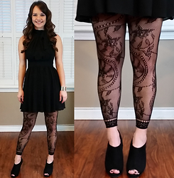 Amie - Express Tie Neck Halter Dress, Floral Lace Tights - Little black dress with floral lace tights and booties!