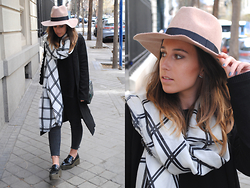 Claudia Villanueva - Asos Beige Fedora Hat, Asos Grid Check Scarf, New Look Black Duster Coat, Zara Black Sweater, Zara Metallic Green Bag, Zara Platform Loafers - Monochrome Print