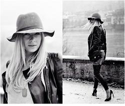 Fashiontwins - H&M Leather, Topshop Shoes, Zara Jacket, Chanel Bag, Asos Hat - Chanel Winter