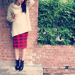 Lisa Chen - Chloé Ankle Boots, Asos Pencil Skirt - Plaid in red.