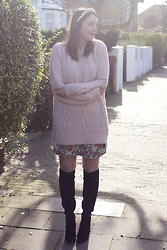 Jaclyn - Zara Cable Knit Jumper, Zara Pearl Headband, New Look Floral Mini Skirt, Zara Knee High Boots - Knee Highs and Knitwear