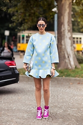 Diana Enciu - Saint Laurent Shoes, Vivetta Dress, Moo Sunglasses - Hot Dots