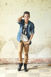 Earth Sagun - Penshoppe Denim Shirt, Oxygen Statement Shirt, Human Chinos, Milano Dessert Boots - The Nineties KID