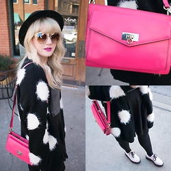 Whitney Paige - Nasty Gal Hat, Nasty Gal Sweater, Quay Sunglasses, Tuk Creepers, Kate Spade Purse, Nasty Gal Shirt - Clueless
