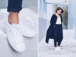 Kookie B. - Leather Sneakers, High Waist Peg Trousers, Duster Coat - Cold Weather Basics