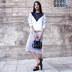 Konstantina Tzagaraki - Sweatshirt, Saint Laurent Bag, Lace Skirt - They call it poetry,what she feels with her mouth closed..