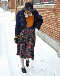 Sushanna M. - Navy Double Breasted Coat, Cinnamon Braided Elbow Patch Sweater, Thrifted Vintage High Waisted Blue Pleated Floral Skirt, Ivory Webbed Tights, Urbanog Black Lace Inset Oxfords - Blueberry, Cinnamon & Cream