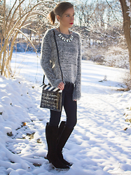 Ann ♡ - Kate Spade Light The Sparklers Cinema City Bag, Burberry Pointed Suede Boots, Statement Necklace, The Shopping Bag Helen Pave Studs, H&M Fuzzy Sweater - Lights, Camera, Snow Day