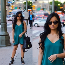 Kamille G - Forever 21 Slip Dress, Sunglass Spot Cateye Sunglasses, Shiek Strappy Gladiators - Downtown stroll