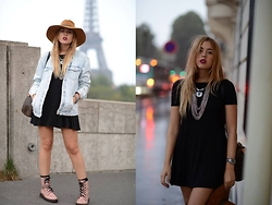 Amy Ramírez - Zara Dress, Zara Jacket, Marypaz Boots - Paris Fashion Week 1