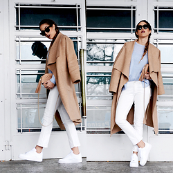 Alison Liaudat - Zara Camel Oversized Coat, H&M White Jeans, Nike Air Force 1 White, Gucci Soho Mini Bag, Céline Sunglasses - Air Force Combo