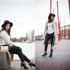 Veronika Byrne - Mango Shirt, Vintage Coat, River Island Jeans, Tk Maxx Shoes, River Island Bag, Primark Hat - Double Denim