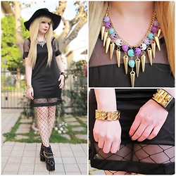 Federica D - Elitefashion99 Sheer Dress, Oasap Pastel Skulls Necklace, Oasap Gold Bracelet, Lookbook Store Black Fake Leather Bracelet - Sheer lover