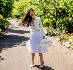 Cissy Zhang - Feathers White Blouse, Feathers White Flared Skirt, White Vintage Bag - Free